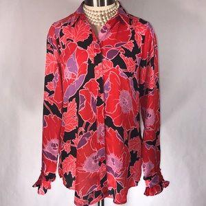 Who What Wear Sz XS red purple floral blouse EUC